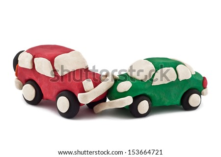 plasticine car accident isolated on white background - stock photo