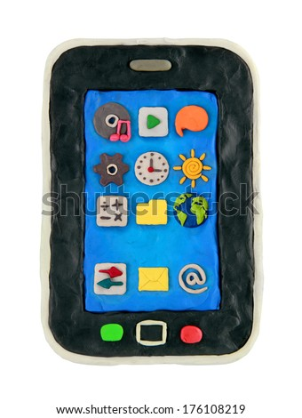 Plasticine cartoon smartphone with icon on a white background - stock photo