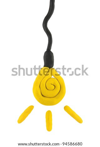 plasticine  child hand made isolated bulb on the white - stock photo