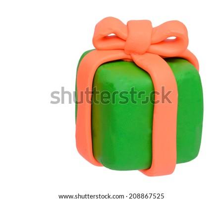 Plasticine clay present box - stock photo