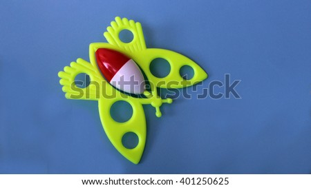 Plasticine colorful butterfly - stock photo