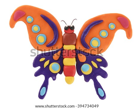 plasticine colorful butterfly isolated on white background. - stock photo