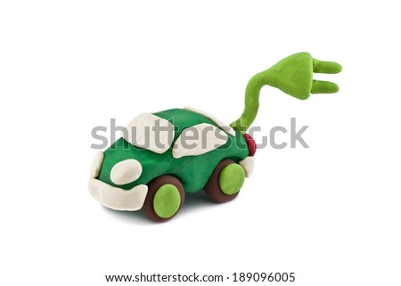 plasticine environmentally friendly car isolated on white background - stock photo