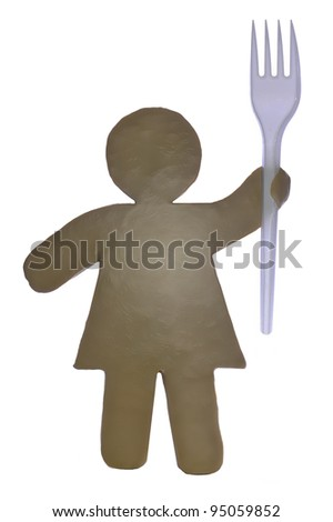 Plasticine figure with a fork on a white background - stock photo
