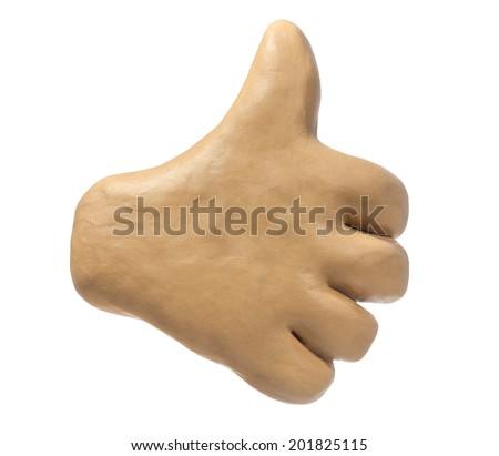 Plasticine hand. Thumb up like icon. - stock photo