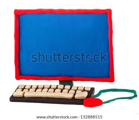 Plasticine handmade computer on a white background - stock photo