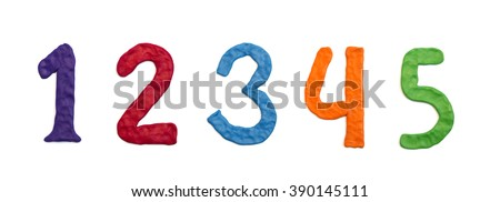 Plasticine handmade numbers, 12345 - stock photo