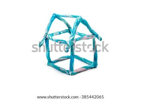 Plasticine house - stock photo
