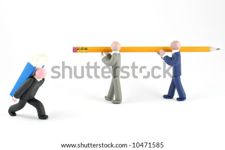 Plasticine human figures humorously handling office objects on white background - stock photo