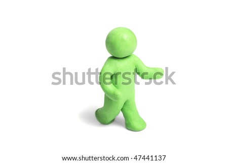 Plasticine human figures on a white background