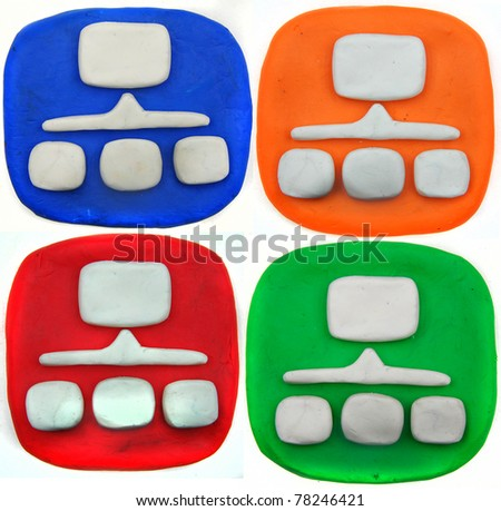 Plasticine icon set isolated on a white background