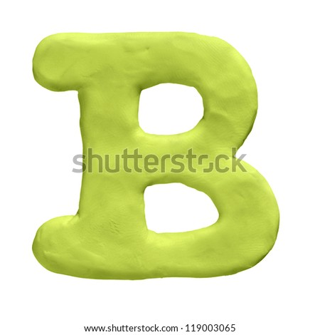 Plasticine letter B isolated on a white background - stock photo