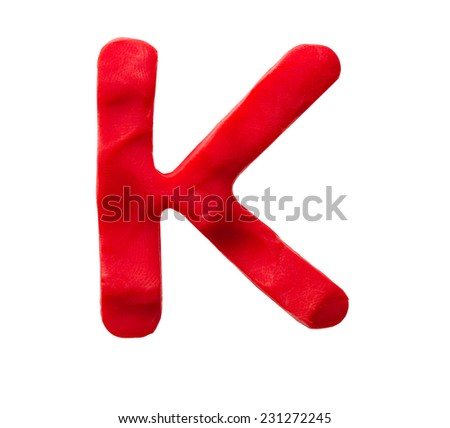 Plasticine letter K isolated on a white background  - stock photo