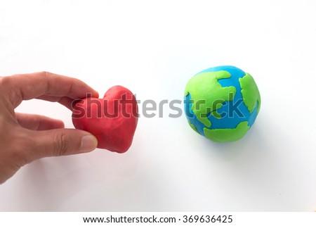 Plasticine Love the Earth,Earth Day Concept - stock photo