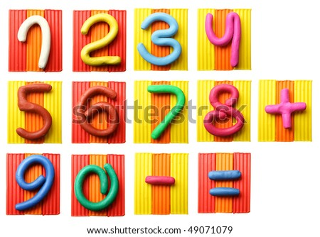 Plasticine numbers isolated over the white background - stock photo