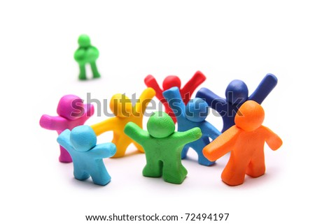 plasticine outsider standing behind a colorful group