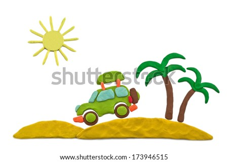 plasticine palms, desert, car sun isolated on a white background - stock photo