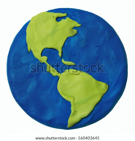 Plasticine planet earth America USA part on a white background - stock photo