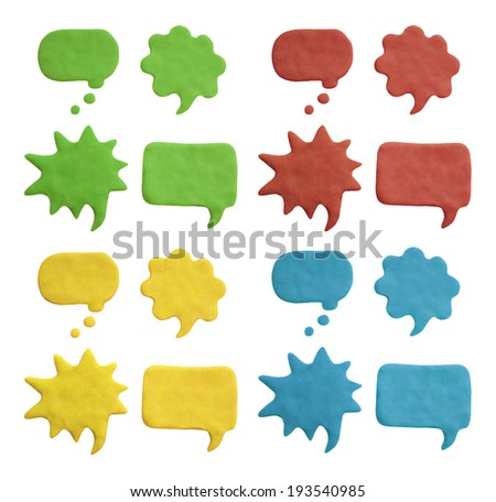 Plasticine speech bubbles. Isolated on white - stock photo