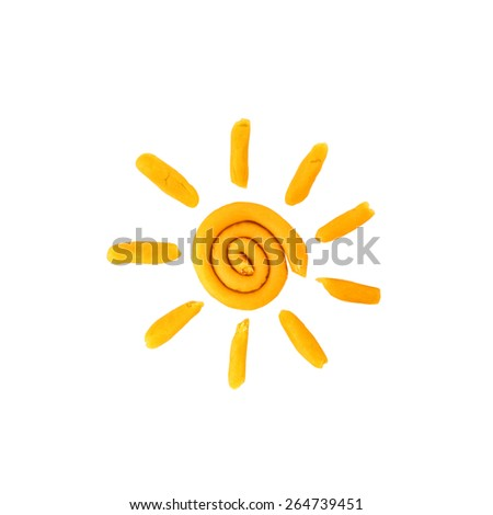 Plasticine sun isolated on a white background  - stock photo