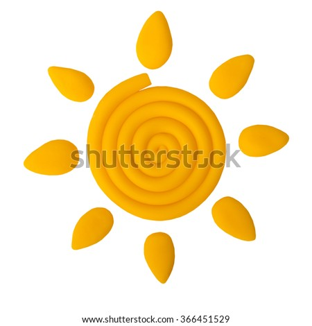 Plasticine sun isolated on a white background - stock photo