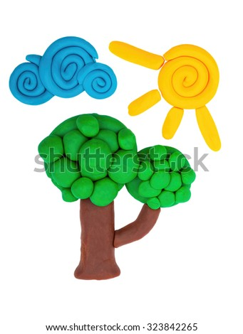 Plasticine tree, sun and cloud. - stock photo