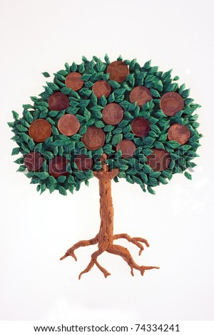 Plasticine tree with coins growning as fruits
