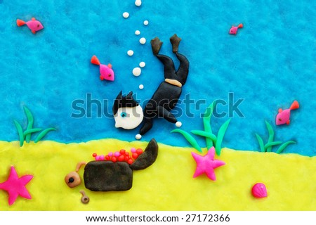 plasticine underwater - stock photo