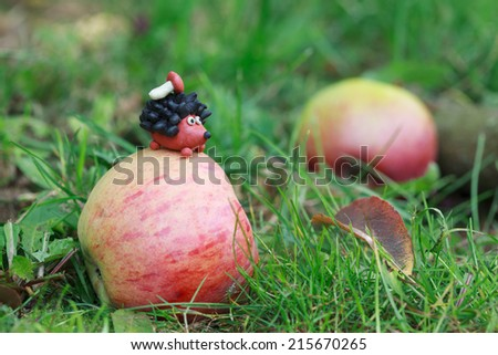Plasticine world - small homemade hedgehog sitting on red apple with boletus on his back on a green meadow, selective focus on the hedgehog - stock photo