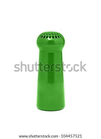 Plastick green salt cellar isolated on white - stock photo