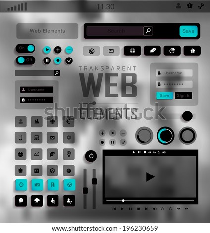 plat transparent Web, mobile Elements, icons. Buttons and Labels, blur background