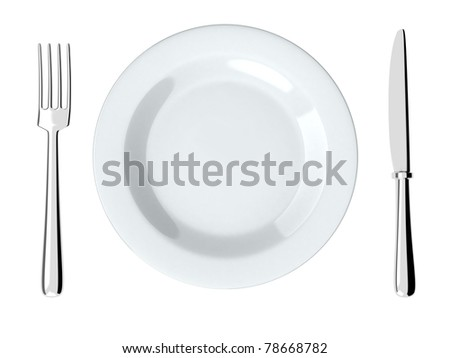 Plate and fork, knife (done in 3d, isolated)