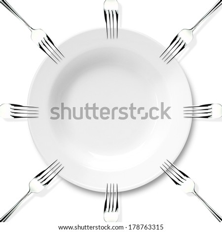 Plate and forks on the white background