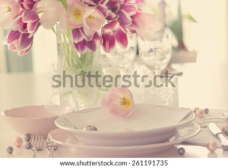 Plate and tulips decoration on white background with cream filter - stock photo