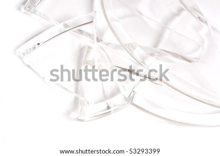 plate broken to splinters on white background