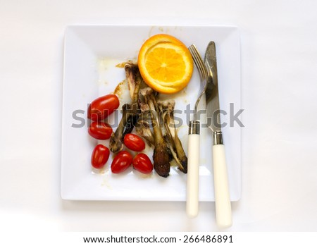 plate dirty after the meal is finished - stock photo