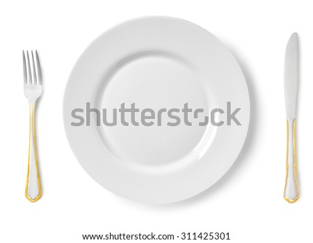 Plate fork knife on a white background isolated - stock photo