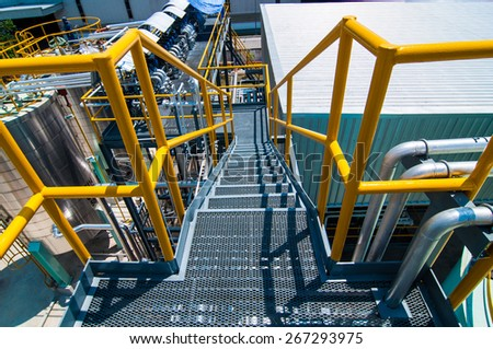 Plate form structure process Oil pipeline in factory plant. - stock photo
