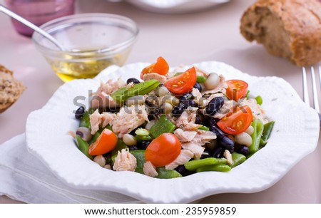 Plate full of beans and tuna salad - stock photo