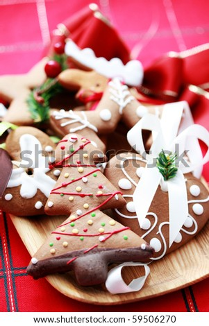 plate full of Christmas gingerbreads - sweet food - stock photo