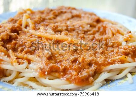Plate full of Spaghetti - stock photo
