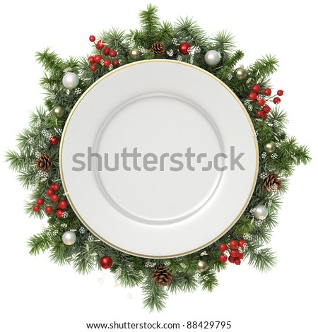 Plate in a Christmas wreath isolated on white. - stock photo