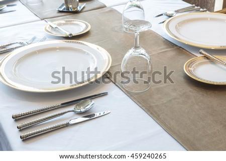 plate in restaurant - stock photo
