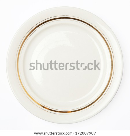 Plate isolated on white - stock photo