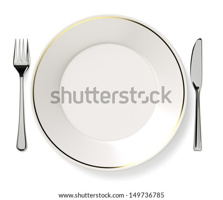 Plate, knife and fork. - stock photo