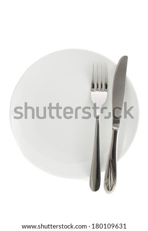 plate, knife and fork isolated on white background - stock photo