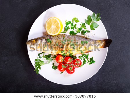 plate of baked sea bass on dark background - stock photo