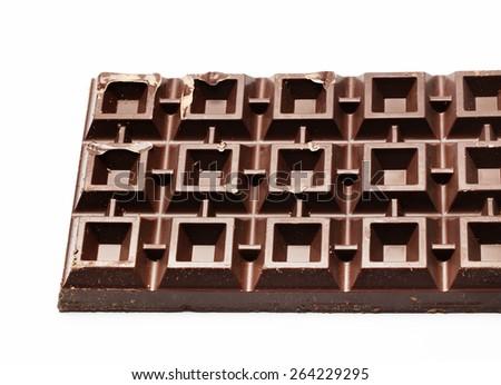 Plate of black chocolate - stock photo