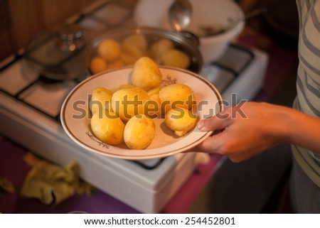 Plate of boiled potatoes holded in hand - stock photo