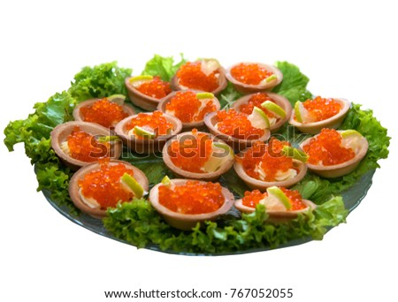 Plate of caviar on the white isolated white background